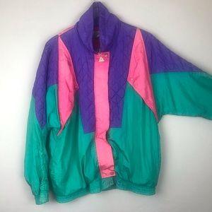 80s Pastel Color Block Windbreaker L
